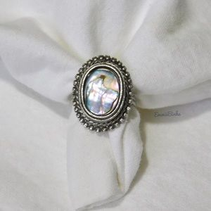 Vintage, Sterling Silver Oval ABALONE Shell Ring